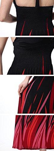 Feoya Elegant Neckholder Kleid Maxi Kleid Bohemian Kleid Partykleid Größe Größen - Schwarz&Rot Schwarz&Rot