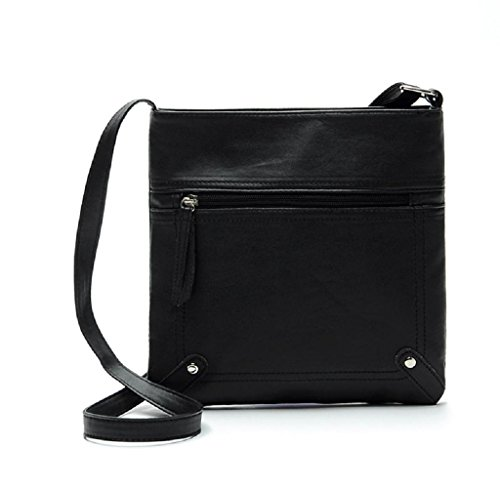 Tote , Rcool Mode für Frauen Ledertasche Cross Body-Umhängetasche Messenger Bag Handtasche (Schwarz) (Cross 80er Body)