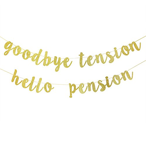 Tension Banner (Karoo-Jan Goodbye Tension Hello Pension Banner Gold Glitzer Retirement Party Supplies)