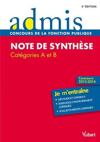 Note de synthèse - Entrainement - Catégories A et B - Concours 2013-2014