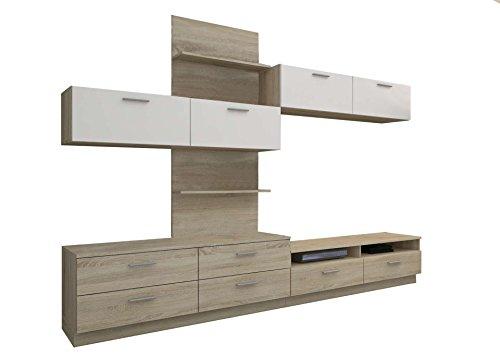Avanti trendstore - alassio - parete da soggiorno in quercia sonome / bianco lucido d'imitazione, offre molto spazio, lap ca. 277x196x41 cm