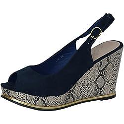 Damen Sandalen Sandaletten Keilabsatz High Heels Pumps Plateau L9 Schlangenmuster (36, Blau)