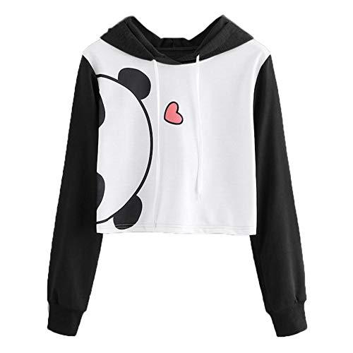 Animal-print Knit (Damen Blusen Shirt Tops MYMYG Mode Damen Shirts Blusen Frauen Mädchen Animal Print Langarm mit Kapuze Crop Bluse Pullover Sweatshirt Shirts Blusen Tops (B1-Schwarz,EU:48/CN-5XL))