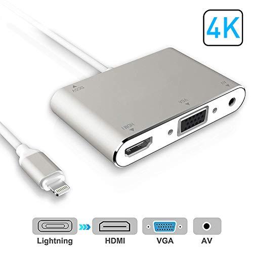 MKROYO Adaptateur convertisseur HDMI VGA AV, 4 in 1 Adaptateur AV numérique Plug and Play pour iPhone X / 8/8 Plus / 7 / 7Plus / 6 / 6s / 6s Plus / 5 / 5s iPad au projecteur HDTV (Argent)