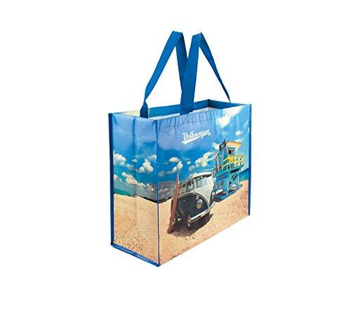 BRISA VW Collection Große Einkaufstasche Shopper Strandtasche mit VW Bus T1 Motiv - Beach Life (Woven Shopper)