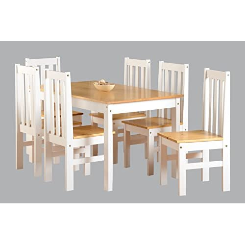 41v8DQqV0WL. SS500  - Ludlow Contrasting Pine and White Dining Set with 6 Chairs - Ludlow Dining Range