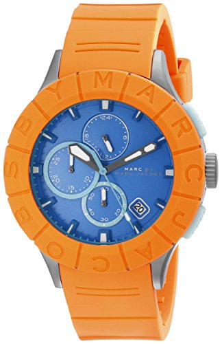 MARC JACOBS MBM5545 GENTS ORANGE RUBBER 44MM STAINLESS STEEL CASE DATE WATCH