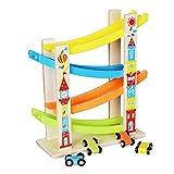 Igemy Junge Mädchen Holz Geschenk Rennbahn Auto Rampe Racer mit 4 Mini Autos Kleinkind Spielzeug (Mehrfarbig)