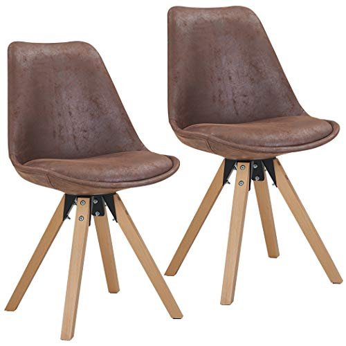 Duhome Elegant Lifestyle Stuhl Esszimmerstühle Braun Schokolade Küchenstühle !2 er Set! Farbauswahl mit Holzbeinen Esszimmerstuhl Retro Stoff Lederoptik TYP 518EM (Braun Hohe Rückenlehne Esszimmer Stuhl)