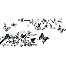 WALL STICKER CARTA PARATI ADESIVO DECAL FARFALLE FIORI - Fiori E Farfalle