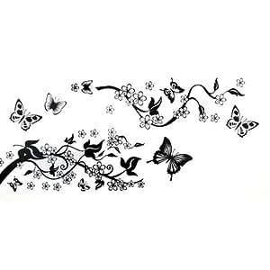 Sticker mural auto collant en pvc fleur lierre papillon for Collant mural francais