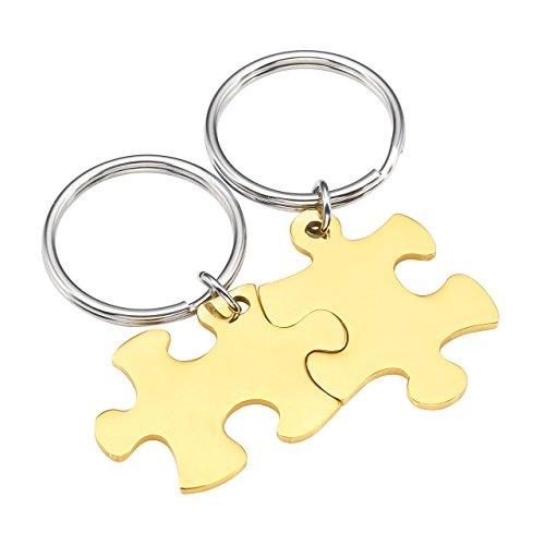 BOPREINA Personalized Gravur 2X Edelstahl 33*22mm Zwei Puzzle Schlüsselanhänger Partner Paare Liebe Freundschaft Schlüsselbund Schlüsselring Keychain (Gold, Non-Gravur)
