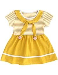 709275a530e Darringls Robe Fille Bébé La Mode Les Loisirs Manche Marine Noeud Papillon  Boule de Cheveux Rayures