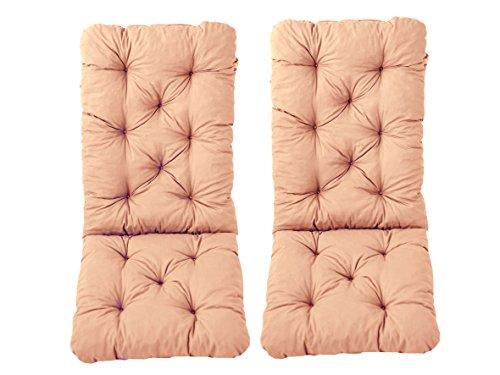 Ambientehome 2er Set Hochlehner Auflage Kissen Hanko Maxi, apricot, ca 120 x 50 x 8 cm, Rückenteil ca 70 cm, Polsterauflage