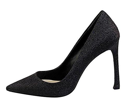 VogueZone009 Femme PU Cuir à Talon Haut Tire Couleur Unie Chaussures Légeres Noir