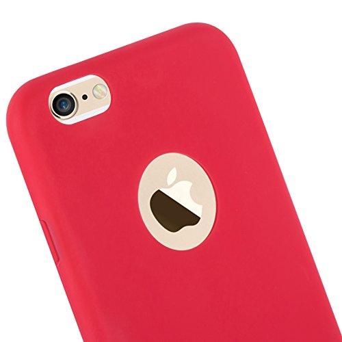 Cadorabo - Ultra Slim TPU Candy Etui Housse Gel (silicone) pour Apple iPhone 6 PLUS / 6S PLUS - Coque Case Cover Bumper en CANDY-BLEU-FONCÉ CANDY-ROUGE