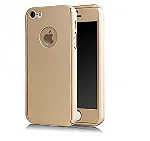 Tecozo 360 Degree Full Body Protection Front & Back Case Cover (iPaky Style) with Tempered Glass for Apple Iphone 5 / 5s / SE - Gold