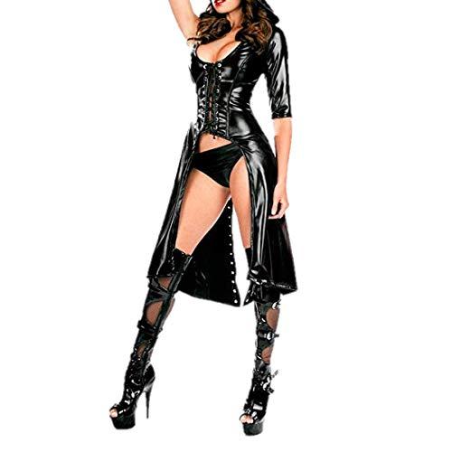 Mantel Kunstleder Erwachsenen Für Kostüm Schwarz - Alvivi Damen Catsuit Wetlook Frauen Dessous-Catsuit Women Kostüm Leder Optik Gothic Kleider Mantel Cape Clubwear Cosplay DS-Kostüm Schwarz B One Size