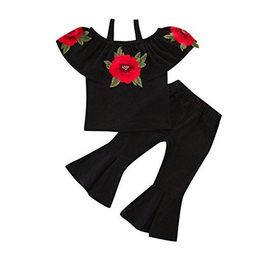 JYJM2 Stücke Kinder Baby Mädchen Blumendruck Schulterfrei Tops + Ausgestellte Hosen Outfits sets Kleidung Set Kinder Tops T-shirt Floral Hose Outfits Set Kleidung Set (140, schwarz) -