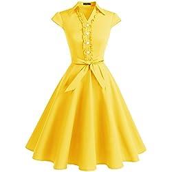Wedtrend Robe Rétro Vintage années 50 Robe Rockabilly Audrey Hepburn Longue avec Ceinture à des Boucles de cœur Elégante WTP10007 Yellow 2XL