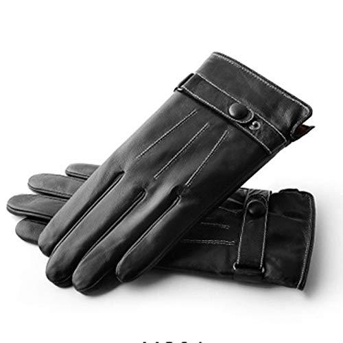 TZZ Herren Winter Warm Touchscreen SMS Lammfell Driving Motorrad Lederhandschuhe (Kaschmir/Langes Fleecefutter) (Farbe : G2)