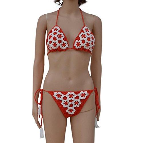 Tpulling Maillot de Bain Femme 2 Pieces ❤️ Femmes Bikini Set Push Up Maillot de Bain Push Up Bikini ❤️ 1 centime Produit red