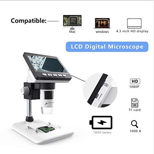 Lesehilfen Digital-Mikroskop-Desktop, 4,3-Zoll-50X-1000X Vergrößerung Zoom 1080P 2.0 Megapixel Verbindung Handhled Wiederaufladbare 8 Einstellbare LED-Leuchten Labormikroskope Kamera DIY & Werkzeuge