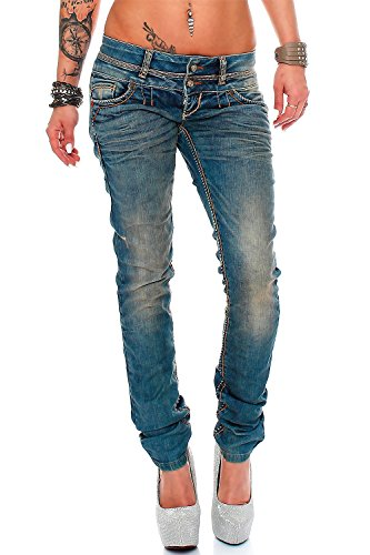 Cipo Baxx Sexy Damen Jeans Stretch Röhre Hose Slim Stright Fit Skinny Hüftjeans Casual verschiedene Varianten Styles, Blau (Modell-12), Gr. 29W / 34L