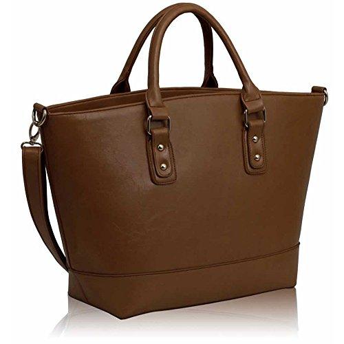 Frau Handtaschen Damen Groß Für Leinentrage Tasche Konstrukteur Imitat Leder Berühmtheit Stil Neu (C - Bräunen) C - Bräunen