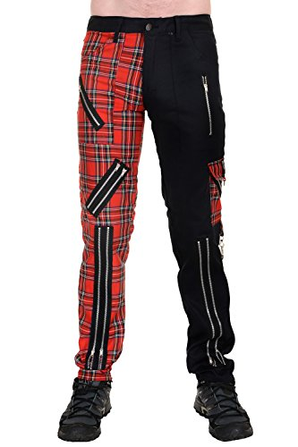 Tiger of London Zip Bondage J Split Leg Pants in Black Cotton and Red Tartan. - London Tiger
