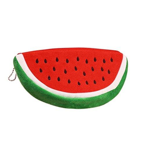 Zedtom Modisch Kosmetiktäschchen Make-Up Etuis Bleistifthalter Federmäppchen Wassermelone-Form - Rot