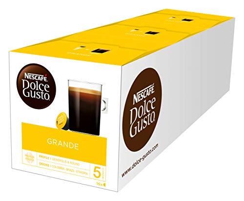 NESCAFÉ Dolce Gusto Grande Kaffee | 48 Kaffeekapseln | 100{51708ddbd6382b82c889a52bdaf45f2cb6424b86328f05ed1f362934f710fb19} Arabica Bohnen | Feine Crema und kräftiges Aroma  | Schnelle Zubereitung | Aromaversiegelte  Kapseln | 3er Pack (3 x 16 Kapseln)