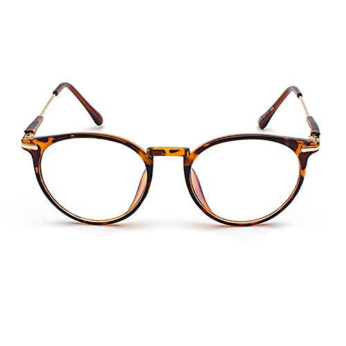 WEATLY Männer und Frauen Retro Face Glasses Big Box Flacher Spiegel Clear Lens Frame Glasses (Color : Leopard)