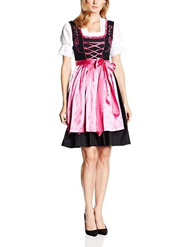 Gaudi-Leathers Dirndl Set 3 Teilig, Trachtenkleid, Dirndl Bluse, passender Schürze in Schwarz (Pink Schwarz 050), 40