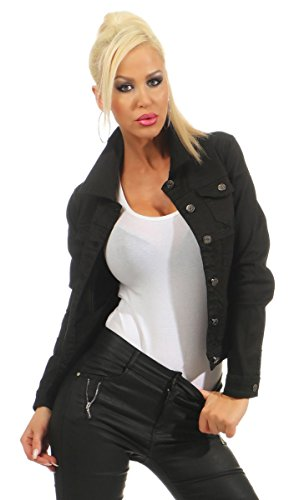 5197 Fashion4Young Damen Jeansjacke Damenjacke Jeans Jacke Kurze Jacke Baumwolle Stretch-Denim (schwarz, M-38)