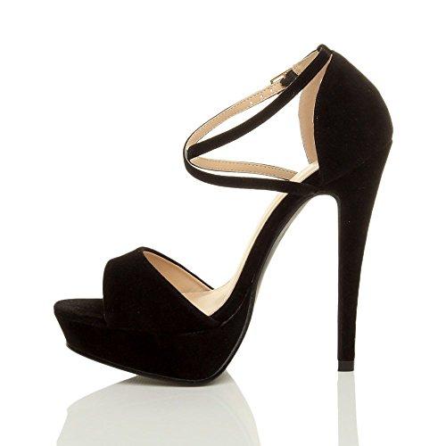 Femmes talons hauts bout ouvert lanières croisées sandales plateforme pointure Noir daim