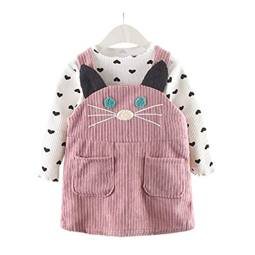 Halloween Fee Kostüm Herbst - Dasongff Herbst Baby Kinder Kleinkind Mädchen Kleidung Kaninchen Liebe Sweatshirt Prinzessin Kleid Mädchen Langarm Bandage Anzug Mini Kleid Set (1-36Monate)