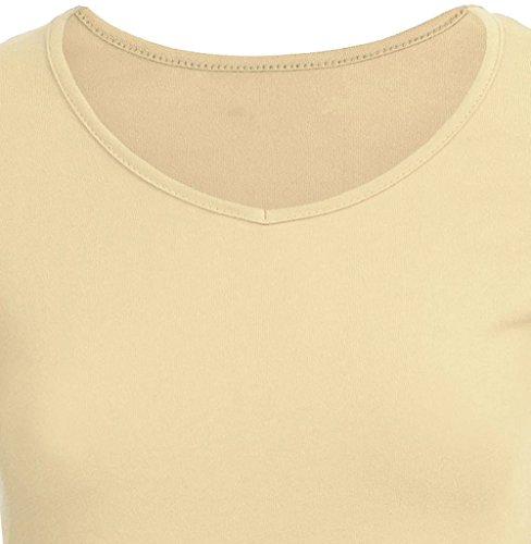 Damen Unregelmäßige Strick Langarm Volltonfarbe Longshirt Tops Minikleid V-Ausschnitt Slim Oberteile Pulli Bluse Tunika Beige