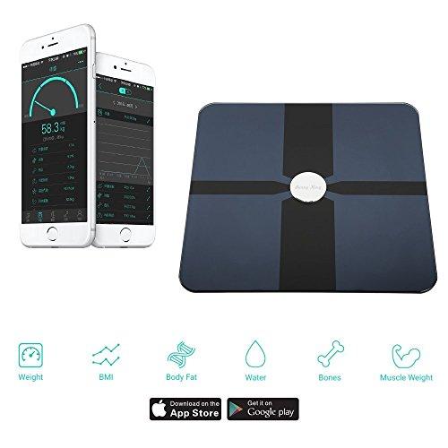 SmartScale Bluetooth 4.0 Waage Körperanalysewaage Gewicht, BMI, Körperfettanteil, Knochenanteil, Organfett, Grundumsatz, Muskelanteil, Wasseranteil) bis 180 kg iOS Android bis zu 8 Personen