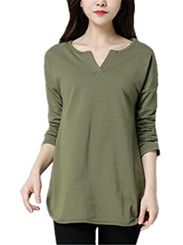 AILIENT Donna Camicetta Maglietta T-Shirt Maglia Blusa Puro Colore Manica  Lunga Collo V Camicetta
