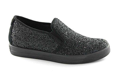 IGI & CO 47890 schwarze Schuhe Frau Beleg auf Turnschuh elastischen glitter Nero