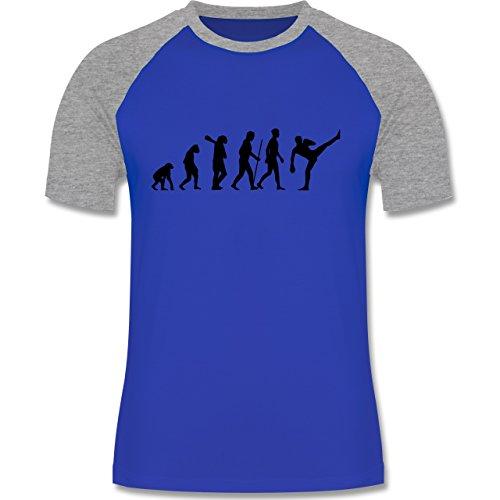 Evolution - Kampfsport Evolution - zweifarbiges Baseballshirt für Männer Royalblau/Grau meliert