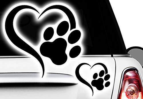 HR-WERBEDESIGN Love Herz Pfote, Dog, Cat, Katzenpfote Hundepfote xAufkleber Sticker x5
