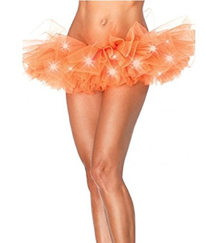 Damen Weihnachten Halloween Party eine Linie Ballett Tütü Mini Rock mit LED Party Kurz Glam Gothic Vintage Petticoat Rock Tanzkleid Ballett Licht Glam Gotik Tüll Tanz Rock (Einheitsgröße, Orange)