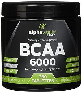 BCAA 6000 vegan - 360 Tabletten á 1000 mg reine BCAAs - ohne Magnesium...