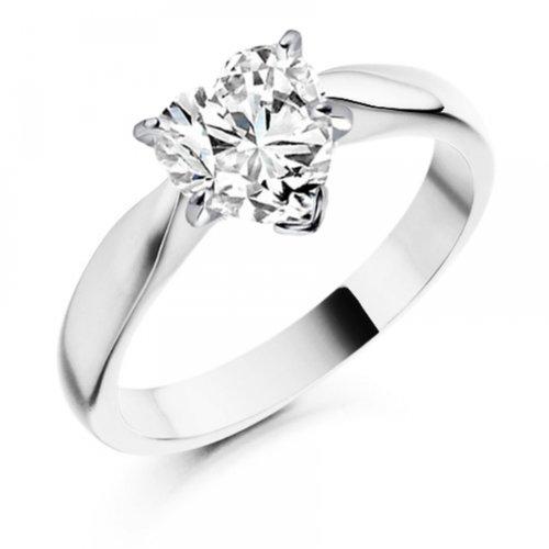 Diamond Manufacturers, Damen, Verlobungsring mit 0.25 Karat E/VVS1 feinem und zertifiziertem Herzdiamant in 18k Weißgold, Gr. 41 - 2