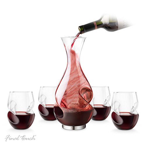 Final Touch Conundrum Red Wine Drinking SET Conundrum Decanter Weinbelüfter und Dekanter 375ml and Red Conundrum Wine Glasses Rotweingläser 473ml - Exclusive Gift Boxed Set