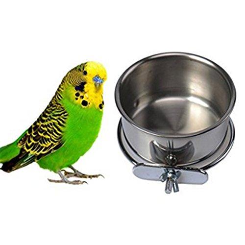 Da.Wa Vogel Essen Füttern und Trinken Hanging Cup Edelstahl Coop Hanger Cup Für Papagei Käfig Budgie