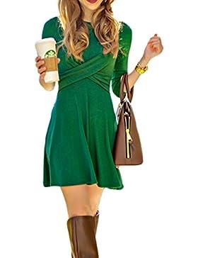 Le Donne Eleganti Vintage 3 / 4 Nella Manica Monocolor Swing Vestito