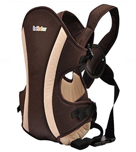 Bébéar Babytrage Baby Tragetasche Rückentrage Bauchtrage Baby Carrier Braun babycarrier unisex Jungen Mädchen